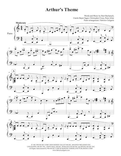 Arthurs Theme Fabrizio Caligaris Piano Arrangements
