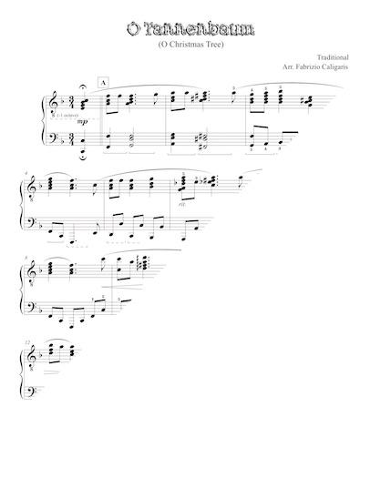 O Tannenbaum Piano.O Christmas Tree Fabrizio Caligaris Piano Arrangements