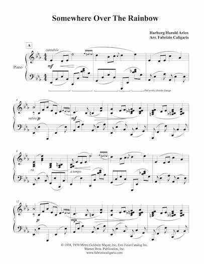 somewhere over the rainbow piano accompaniment pdf